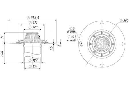 Кровельная воронка  ТП-01.100/6-Э оснащена электроподогревом